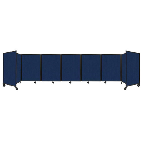 """Room Divider 360 Folding Portable Partition 19'6"""" x 4' Navy Blue Fabric"""