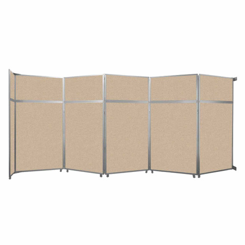 """Operable Wall Folding Room Divider 19'6"""" x 8'5-1/4"""" Beige Fabric"""