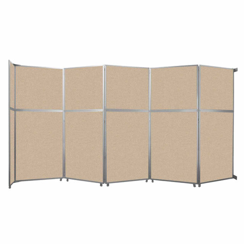 """Operable Wall Folding Room Divider 19'6"""" x 10'3/4"""" Beige Fabric"""