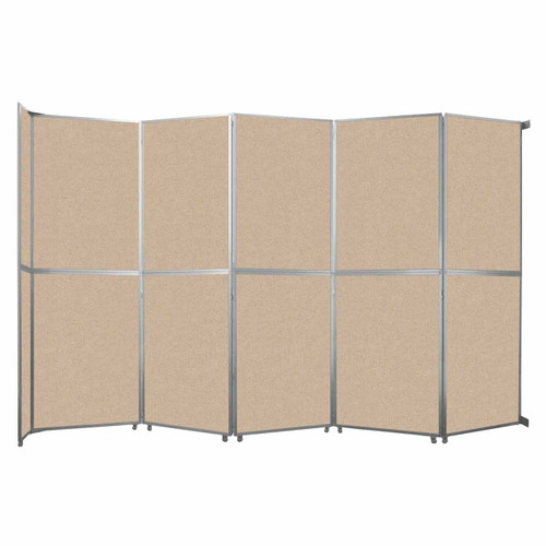 "Operable Wall Folding Room Divider 19'6"" x 12'3"" Beige Fabric"