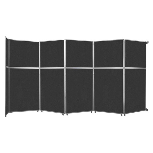 "Operable Wall Folding Room Divider 19'6"" x 10'3/4"" Black Fabric"