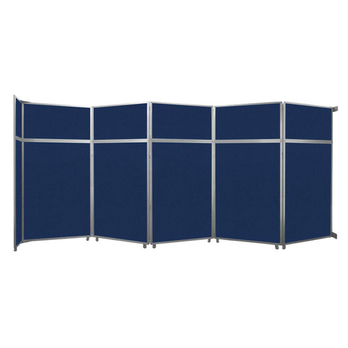 "Operable Wall Folding Room Divider 19'6"" x 8'5-1/4"" Navy Blue Fabric"