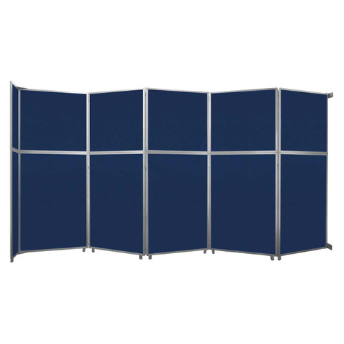 """Operable Wall Folding Room Divider 19'6"""" x 10'3/4"""" Navy Blue Fabric"""