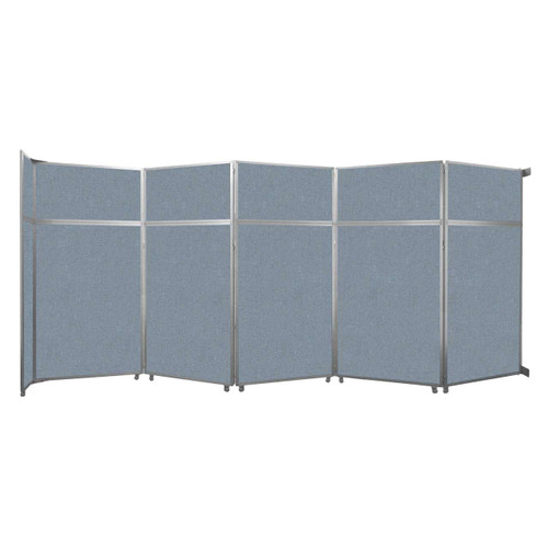 "Operable Wall Folding Room Divider 19'6"" x 8'5-1/4"" Powder Blue Fabric"