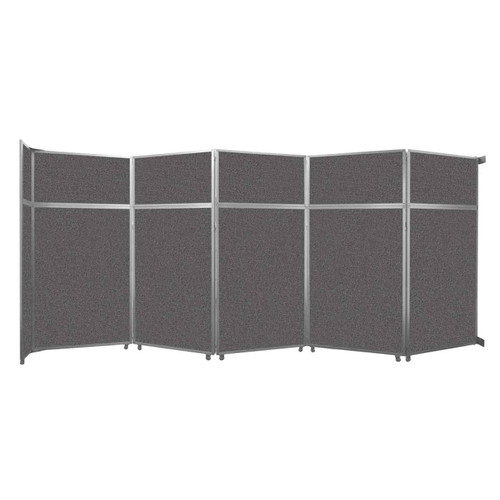"Operable Wall Folding Room Divider 19'6"" x 8'5-1/4"" Charcoal Gray Fabric"