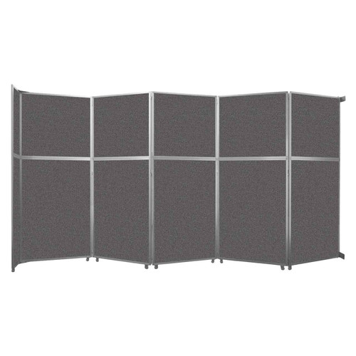 """Operable Wall Folding Room Divider 19'6"""" x 10'3/4"""" Charcoal Gray Fabric"""