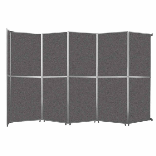"Operable Wall Folding Room Divider 19'6"" x 12'3"" Charcoal Gray Fabric"