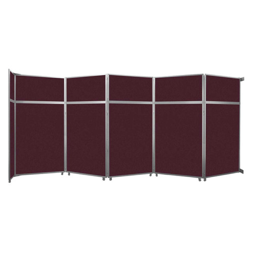 """Operable Wall Folding Room Divider 19'6"""" x 8'5-1/4"""" Cranberry Fabric"""
