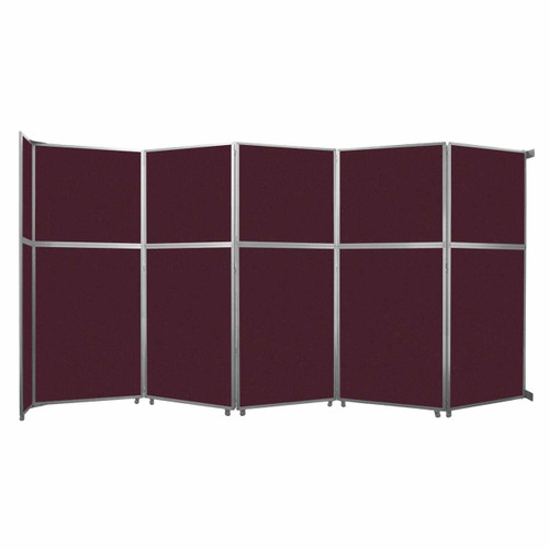 """Operable Wall Folding Room Divider 19'6"""" x 10'3/4"""" Cranberry Fabric"""