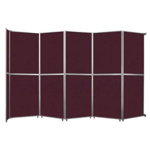 "Operable Wall Folding Room Divider 19'6"" x 12'3"" Cranberry Fabric"