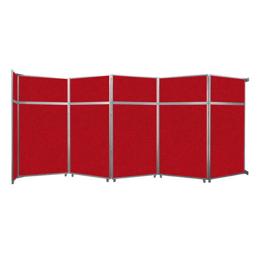 """Operable Wall Folding Room Divider 19'6"""" x 8'5-1/4"""" Red Fabric"""