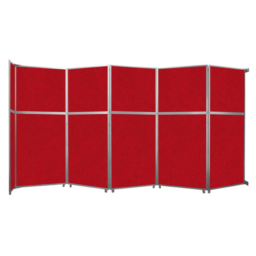 """Operable Wall Folding Room Divider 19'6"""" x 10'3/4"""" Red Fabric"""