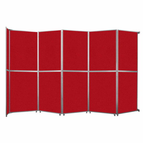 "Operable Wall Folding Room Divider 19'6"" x 12'3"" Red Fabric"