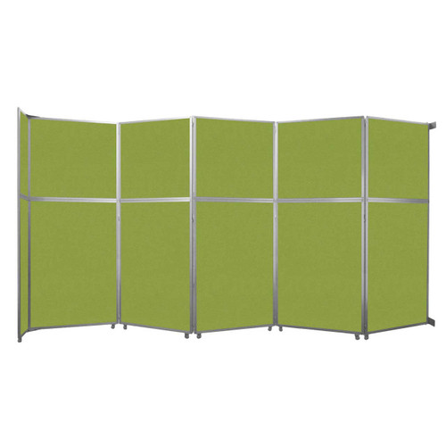 "Operable Wall Folding Room Divider 19'6"" x 10'3/4"" Lime Green Fabric"