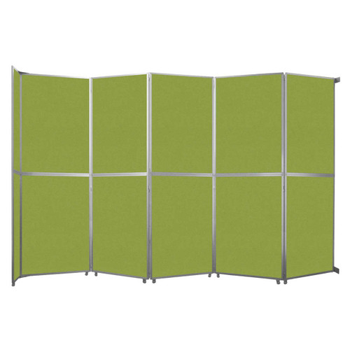 "Operable Wall Folding Room Divider 19'6"" x 12'3"" Lime Green Fabric"
