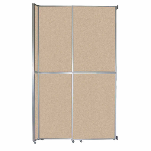 "Operable Wall Sliding Room Divider 6'10"" x 12'3"" Beige Fabric"