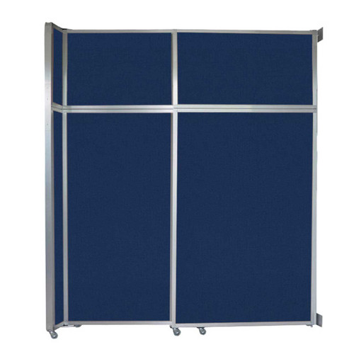 "Operable Wall Sliding Room Divider 6'10"" x 8'5-1/4"" Navy Blue Fabric"
