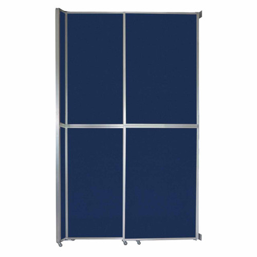 """Operable Wall Sliding Room Divider 6'10"""" x 12'3"""" Navy Blue Fabric"""