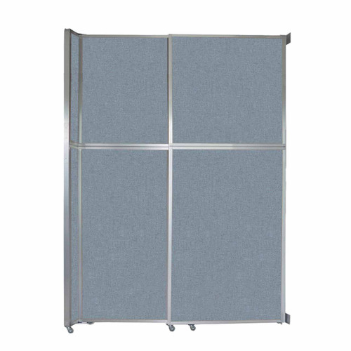 "Operable Wall Sliding Room Divider 6'10"" x 10'3/4"" Powder Blue Fabric"
