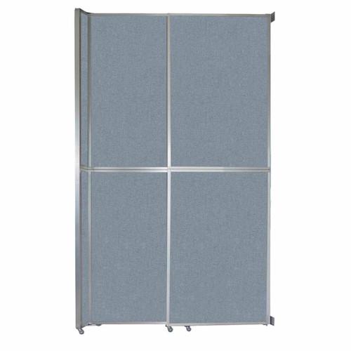 "Operable Wall Sliding Room Divider 6'10"" x 12'3"" Powder Blue Fabric"
