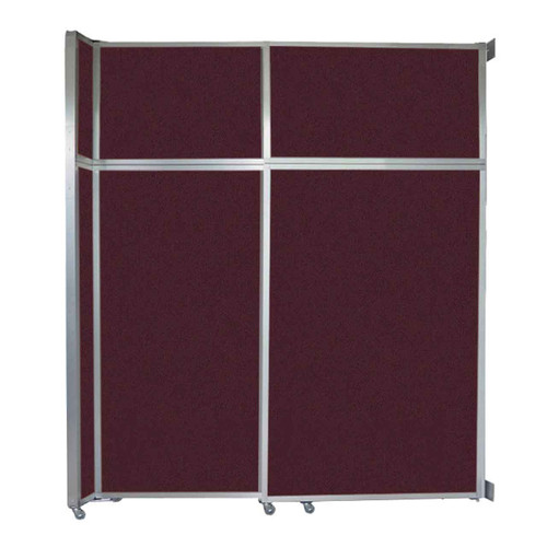 """Operable Wall Sliding Room Divider 6'10"""" x 8'5-1/4"""" Cranberry Fabric"""