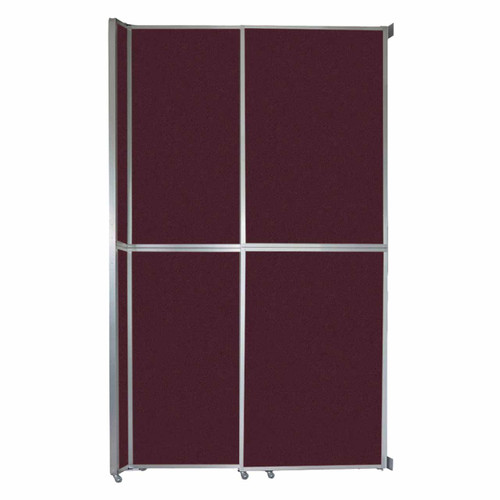"""Operable Wall Sliding Room Divider 6'10"""" x 12'3"""" Cranberry Fabric"""