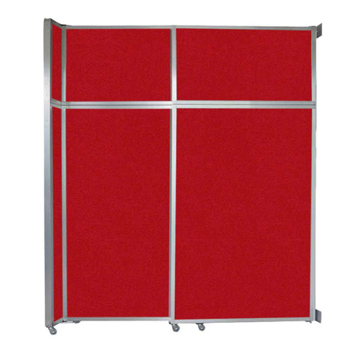 """Operable Wall Sliding Room Divider 6'10"""" x 8'5-1/4"""" Red Fabric"""