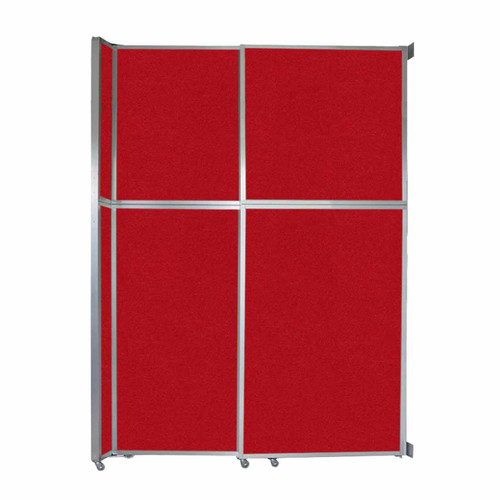 """Operable Wall Sliding Room Divider 6'10"""" x 10'3/4"""" Red Fabric"""