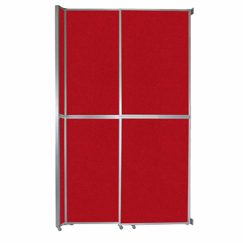 """Operable Wall Sliding Room Divider 6'10"""" x 12'3"""" Red Fabric"""