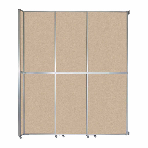 """Operable Wall Sliding Room Divider 9'9"""" x 12'3"""" Beige Fabric"""