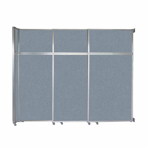 "Operable Wall Sliding Room Divider 9'9"" x 8'5-1/4"" Powder Blue Fabric"