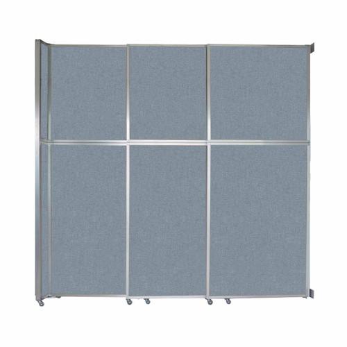 "Operable Wall Sliding Room Divider 9'9"" x 10'3/4"" Powder Blue Fabric"