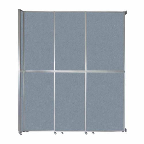"Operable Wall Sliding Room Divider 9'9"" x 12'3"" Powder Blue Fabric"