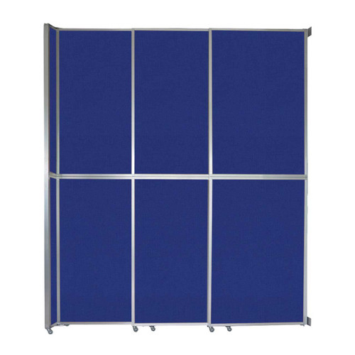 """Operable Wall Sliding Room Divider 9'9"""" x 12'3"""" Royal Blue Fabric"""
