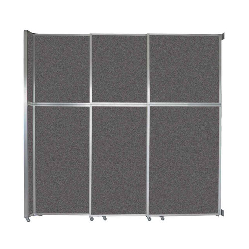 """Operable Wall Sliding Room Divider 9'9"""" x 10'3/4"""" Charcoal Gray Fabric"""