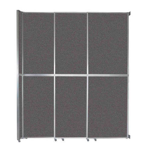 """Operable Wall Sliding Room Divider 9'9"""" x 12'3"""" Charcoal Gray Fabric"""