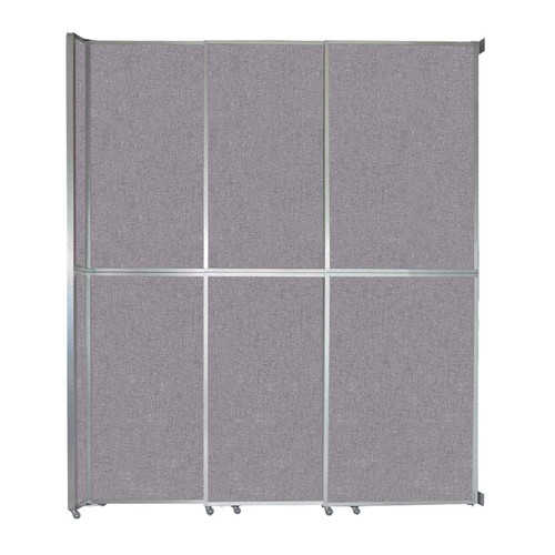 """Operable Wall Sliding Room Divider 9'9"""" x 12'3"""" Cloud Gray Fabric"""
