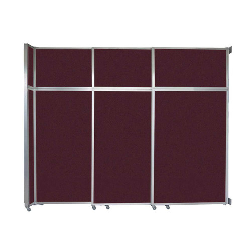 """Operable Wall Sliding Room Divider 9'9"""" x 8'5-1/4"""" Cranberry Fabric"""
