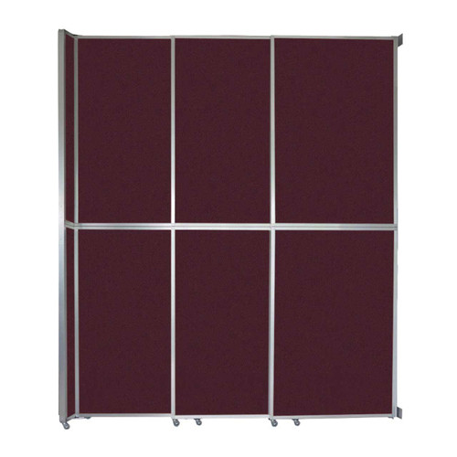 "Operable Wall Sliding Room Divider 9'9"" x 12'3"" Cranberry Fabric"