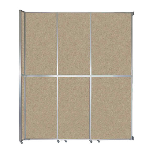 "Operable Wall Sliding Room Divider 9'9"" x 12'3"" Sand Fabric"