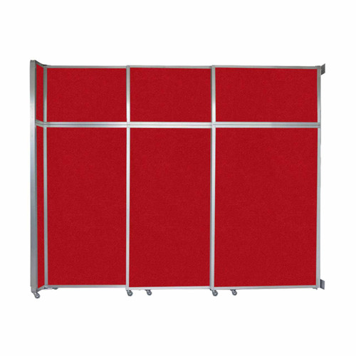 """Operable Wall Sliding Room Divider 9'9"""" x 8'5-1/4"""" Red Fabric"""