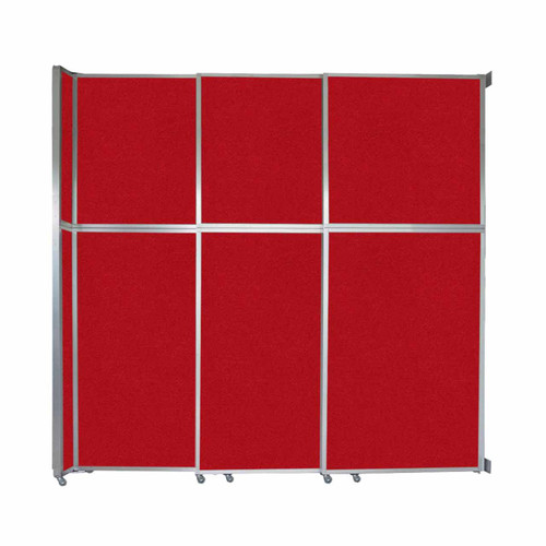 """Operable Wall Sliding Room Divider 9'9"""" x 10'3/4"""" Red Fabric"""