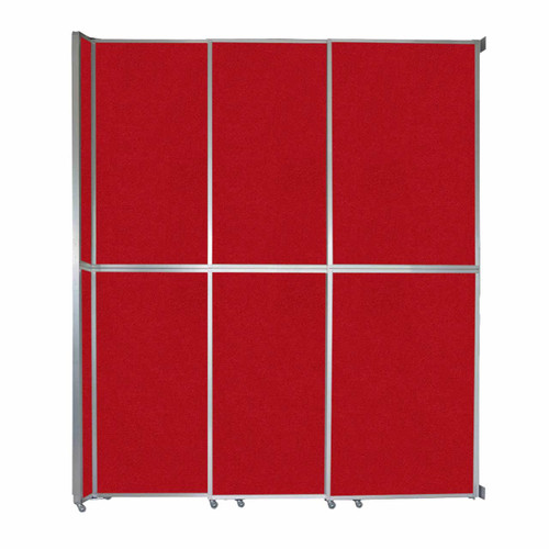 "Operable Wall Sliding Room Divider 9'9"" x 12'3"" Red Fabric"