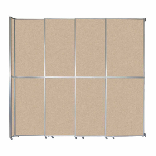 "Operable Wall Sliding Room Divider 12'8"" x 12'3"" Beige Fabric"