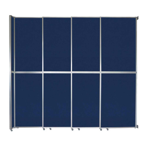 """Operable Wall Sliding Room Divider 12'8"""" x 12'3"""" Navy Blue Fabric"""