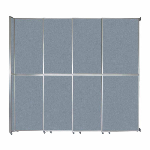 "Operable Wall Sliding Room Divider 12'8"" x 12'3"" Powder Blue Fabric"