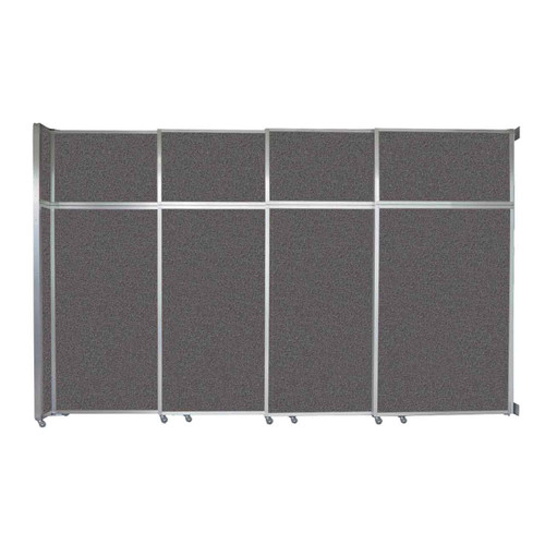 "Operable Wall Sliding Room Divider 12'8"" x 8'5-1/4"" Charcoal Gray Fabric"