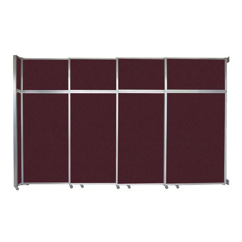 """Operable Wall Sliding Room Divider 12'8"""" x 8'5-1/4"""" Cranberry Fabric"""