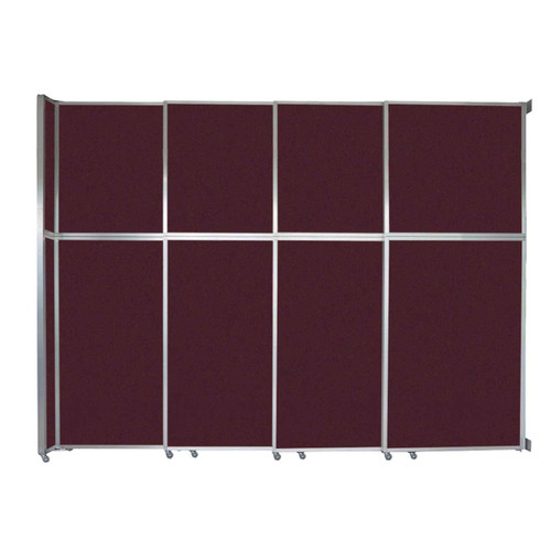 """Operable Wall Sliding Room Divider 12'8"""" x 10'3/4"""" Cranberry Fabric"""