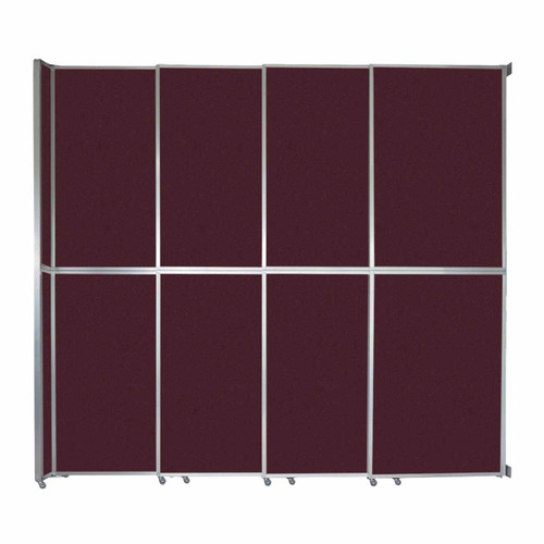 "Operable Wall Sliding Room Divider 12'8"" x 12'3"" Cranberry Fabric"